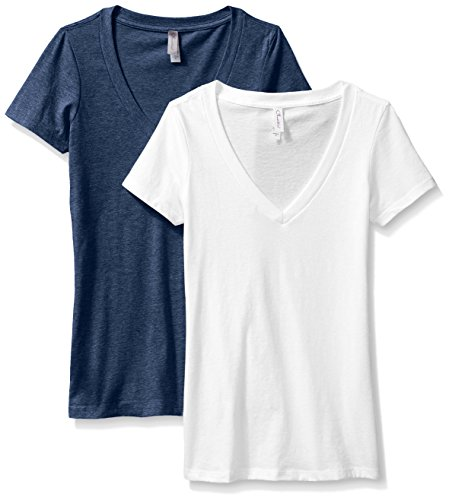 Clementine Women's Deep V-Neck Tee, Midnight Navy/White, X-Large (Pack of 2)
