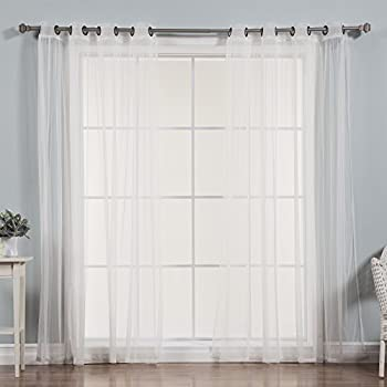 Best Home Fashion Tulle Sheer Lace Curtains Antique Bronze Grommet Top White