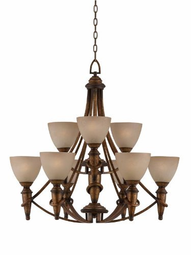 Triarch Crystal Pendant - Triarch International 31484 Parthenon Collection 9-Light 2-Tier Chandelier, Antique Gold Finish with Scavo Glass Shades