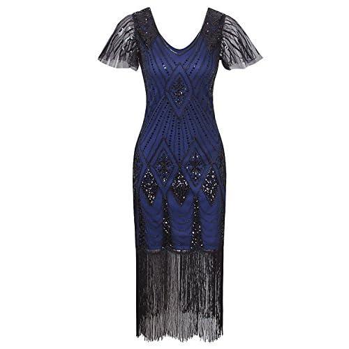 Vijiv Women's 1920s Gatsby Inspired Sequin Beads Long Fringe Flapper Dress With Sleeves