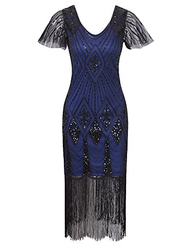 Vijiv Women 1920s Gatsby Long Flapper Dresses With Sleeves Sequins Deco For Prom Party Blue xxl]()