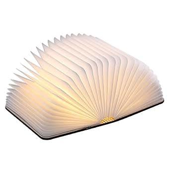 Excelvan USB Rechargeable Magnetic Wooden Folding LED Night Book Light 2500mAh Lithium Batteries Desk Table Lamp, Warm White Light