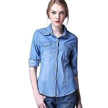MINAKOLIFE Womens Sexy Casual Denim Washed Pocket Shirt Tops Loose Long Sleeve Blouse