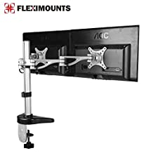 FLEXIMOUNTS M13 Clamp Dual Monitor arm Desk Mounts Monitor Stand for 10-27 Samsung/Dell/Asus/Acer/HP/AOC LCD Computer Monitor ,With Clamp Workstation Support by FLEXIMOUNTS