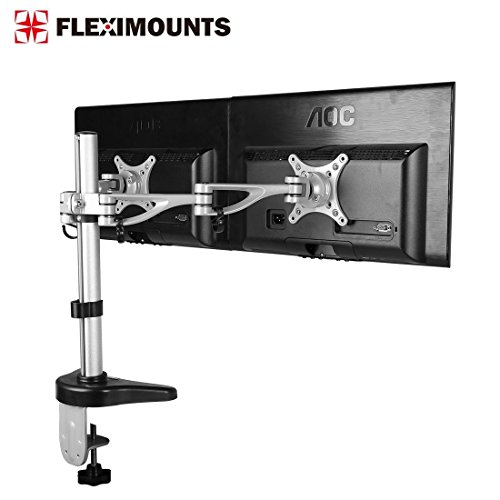 FLEXIMOUNTS M13 Dual Monitor Stand Desk Mounts for 10'-27' computer LCD Screens