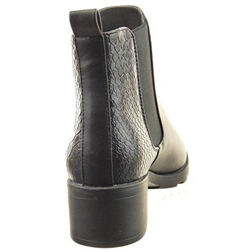 Sopily - Chaussure Mode Bottine Chelsea Boots Cheville femmes Peau de serpent Talon bloc 4.5 CM - Noir