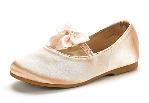 DREAM PAIRS SOPHIA-22 Adorables Mary Jane Front Bow Elastic Strap Ballerina Flat Little Kid New Gold Size ()