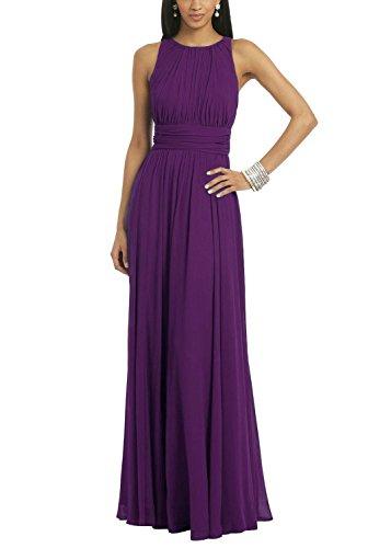 Ssyiz Women's Elegant Pleated Chiffon Floor Length Evening Party Dress