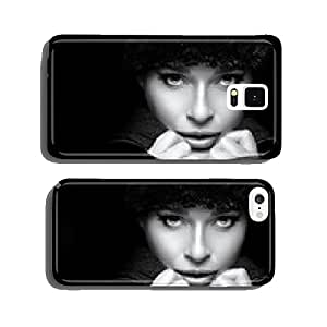 Gorgeous Young Woman in Black Winter Fashion. Monochrome Portrai cell phone cover case iPhone5