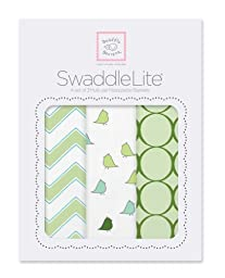 SwaddleDesigns SwaddleLite, Set of 3 Marquisette Swaddle Blankets, Premium Cotton Muslin, Kiwi Chic Chevron Lite