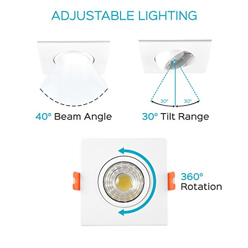 Luxrite 3 Inch Gimbal LED Square Recessed Light with Junction Box, 8W, 5000K Bright White, 600 Lumens, Dimmable Downlight, Energy Star & IC Rated, Damp Location - Adjustable Recessed Lighting by Luxrite (Image #3)