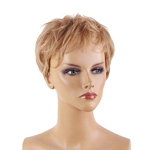 Queentas Pixie Cut Honey Blonde Wigs Short Layered with Bangs Synthetic Hair Wigs for White Women with Free Net Cap (#27/30 Blonde)