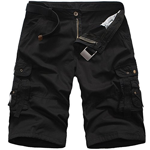 (Overalls Cotton Camouflage Loose Fifth Pants Shorts G,Black,)