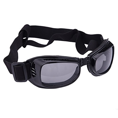 (Square-Style Dog Goggles Glasses Large Dog Protection Eyes UV Waterproof Fogproof Sandstorm Sunglasses Goggles-Black)