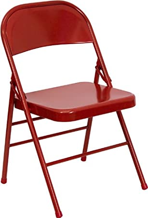 Flash Furniture HERCULES Series Triple Braced U0026 Double Hinged Red Metal Folding  Chair