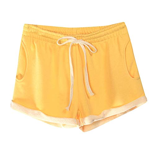 wodceeke Sport Pants, Summer Women Casual Solid Pockets Elastic Waist Loose Pajama Shorts Gym Sport Pants (XXL, Yellow)