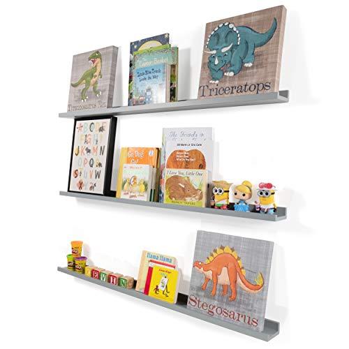 Wallniture Denver Floating Wall Shelf Nursery Bookshelf Picture Ledge 46 Inch Gray Set of 3