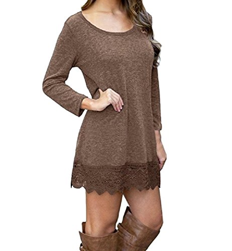 Cotton Coffee Dress Women Length Mid Oversized Stitching Color Pure Lace Coolred qTnvZPEwCP
