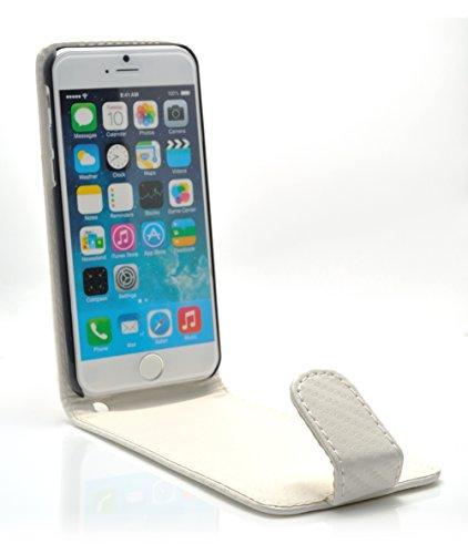 """iProtect housse Flip Case cuir synthétiquee pochette de protection charbon pour Apple iPhone 6 (4,7"""") en blanche"""