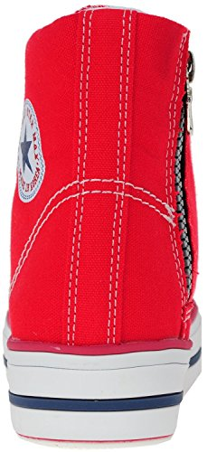 Sneakers top Shoes Taller High Insole Zipper Red 3Line Canvas Maxstar C2 OqgwBB