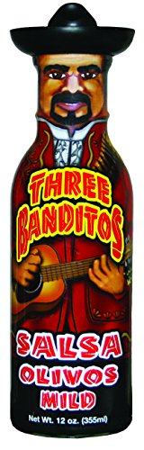 Three Banditos Salsa Olivos - The mildest of the bunch from below the border! A rich red salsa featuring olives. The flavor is mild so any tender foot can ride shot gun on it.