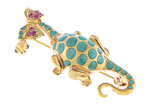 (Alilang Swarovski Crystal Elements Spotted Green Dinosaur w Bow Tie Fashion Pin Brooch)