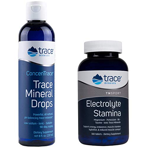 Trace Minerals Research - Concentrace Trace Mineral Drops, 8 fl oz liquid & Research Performance Electrolyte Stamina, High Performance Energy Formula, 300 Tablets - Bundle Pack - Liquid Research Ounce 8