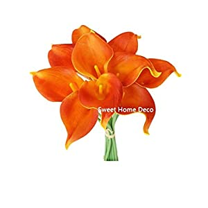 "Sweet Home Deco Latex Real Touch 15"" Artificial Calla Lily 10 Stems Flower Bouquet for Home/Wedding (Orange) 55"
