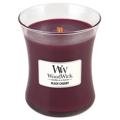 Woodwick 92100 - Cereza Negra Vela aromática en tarro Medio, color rojo color Rojo Virginia Candle Company