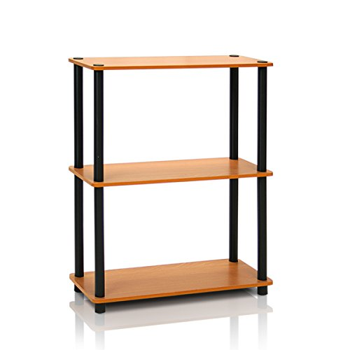 Bookcase 5 Shelf Light (Furinno 10024LC/BK Turn-N-Tube 3-Tier Compact Multipurpose Shelf Display Rack, Light Cherry)