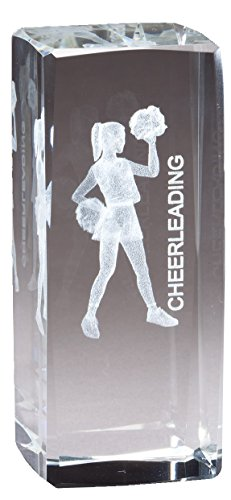 Customizable Cheerleader Figure Optical Crystal Award Laser Engraved Image Inside, includes Personalization