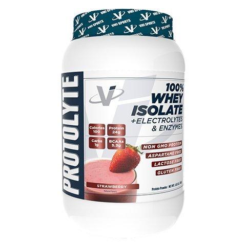 VMI Sports® ProtoLyte® 100% Whey Isolate Protein Powder, Strawberry Milkshake, Zero Sugar with added Electrolytes & Enzymes, 1.6lb
