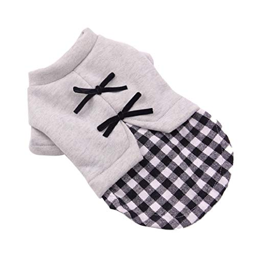 Pet Sweater,JHKUNO Puppy Fake Two Piece Plaid Skirt Bow Embellishment Warm Sweater Dress Pet Supplies Clothes - Gingerbread Embellishments