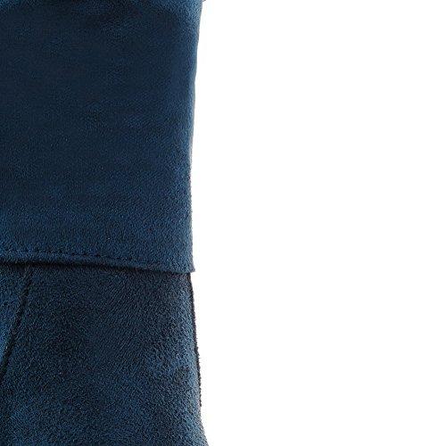 AllhqFashion Mujeres Caña Baja Tachonado Sin cordones Puntera Redonda Tacón Alto Botas Azul