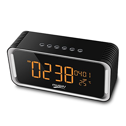 Portable Bluetooth Speaker, Radio Clock, with 2x6W Acoustic Drivers, 7-Inch LED Display, Dual Alarm Clock, Micro SD Card & USB & AUX-in Slots for Smart Phone Tablet Computer and More