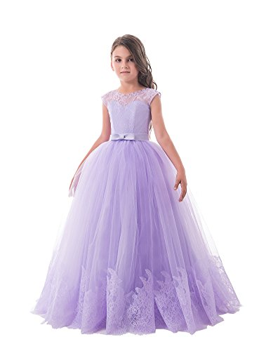 Nicefashion Girls Long Sleeveless Empire Graduation Dresses Kids Christmas Gown Lavender US8 (Kids Christmas Dress)