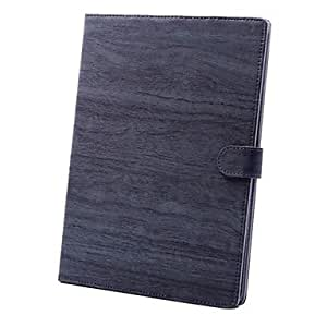 AES - Wood Grain Leather Full Body Case with Stand Back Cover for iPad Air and iPad 5 (Assorted Colors) , Dark Blue