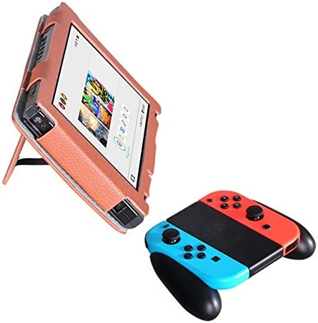 Meijunter cuero Case Cover Stand Holder Bag Sleeve funda protectora bolsa bolso caja para Nintendo Switch Console& Controller Joy-Con Color Brown: Amazon.es: Videojuegos