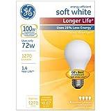 GE Lighting 70284 Soft White Long Life 72-Watt (100-watt Replacement), 1270-Lumen A19 Light Bulb with Medium Base, 4-Pack