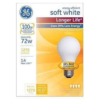 GE Lighting 70284 White Soft Long Life 72-Watt (100-watt Replacement), 1270-Lumen A19 Light Bulb with Medium Base, 4-Pack, 4