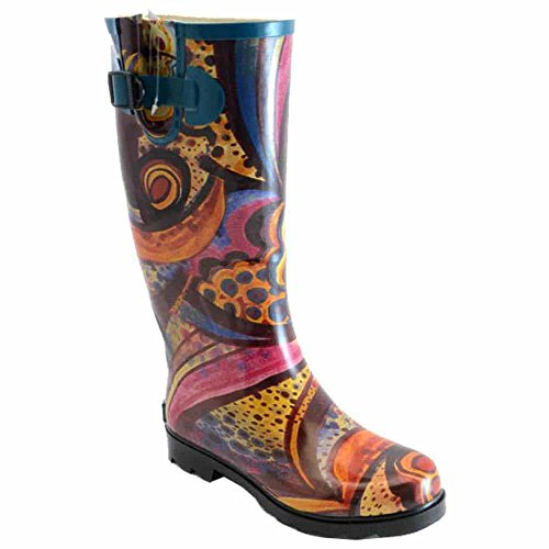 Women's Corkys, Sunshine rubber Rain Boots BROWN TURQUOISE 8 M by Corkys
