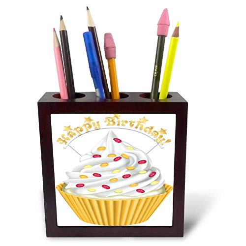 3dRose Anne Marie Baugh - Illustrations - Cute Yellow and Red Happy Birthday Cupcake Illustration - 5 inch Tile Pen Holder -