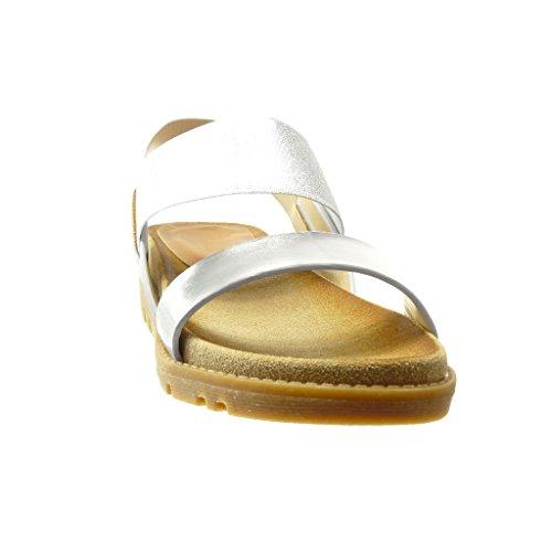 Angkorly - Scarpe da Moda sandali Mules donna lucide multi-briglia tanga Tacco zeppa 4 CM - Argento