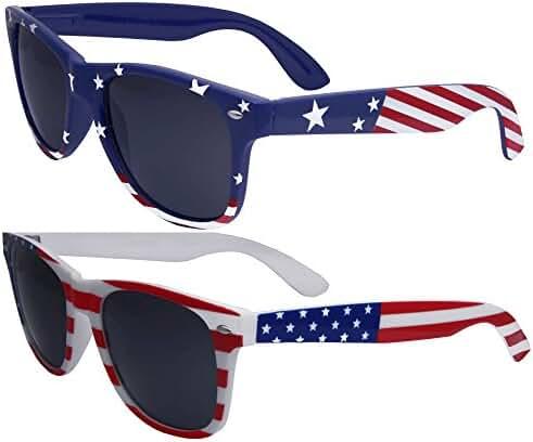 2 Pairs Bulk American Sunglasses USA Flag Wayfarer Patriot