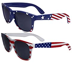 GET 2 Sunglasses in this bulk pack! - One in Blue Stars and Stripe, One in Regular Red, White and Blue! Patriotic Flag Print Sunglasses - Perfect for 4th of July! One Size Fits Most - Good for both Men and Women, Measures 5.7 inches wide (end...