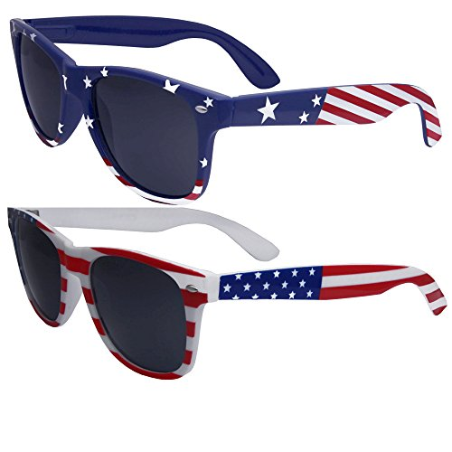 2 Pairs Bulk American Sunglasses USA Flag Wayfarer Patriot