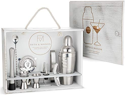 Fifth Maison Bartender Kit – 11 Piece Home Mixology Cocktail Shaker Set 24oz Drink Mixer – Recipe Cocktail Shaker – Elegant Home Bartending Tools Stylish Rustic Wood Display Stand and Gift Set