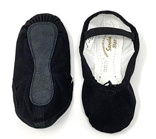 SANSHA Baby 14C Star Black O Medium (US Sizes Children 6.5) Ballet Flat, M BR Toddler
