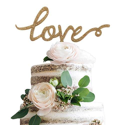 LIMITLESS Love Cake Topper - Gold Glitter Acrylic Plastic Cake Topper - Weddings, Anniversaries, Engagement Parties and More!