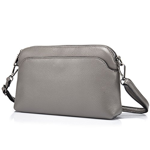 Smart Bag Pattern (Lecxci Small Womens Lady's Soft Leather Crossbody Travel Smartphone Bag Wristlets Clutch Wallet Purse (Lichee Pattern, Grey))